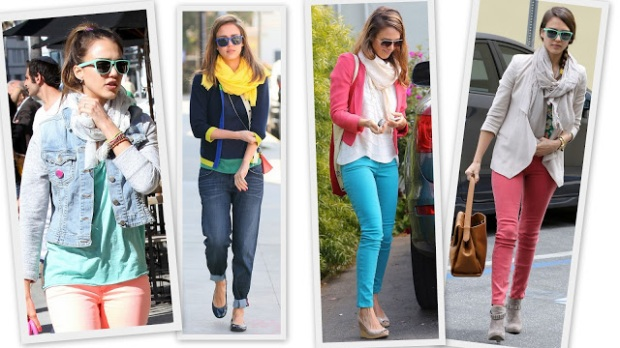 Jessica Alba style celeb  2012 colorful jeans spring summer scarf sunglasses