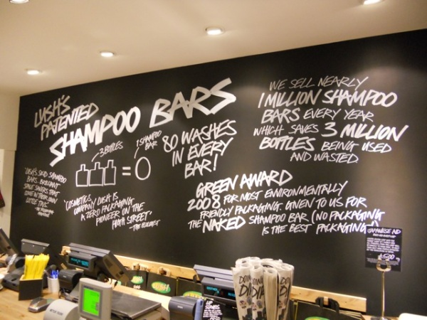 Lush Shampoo bars display